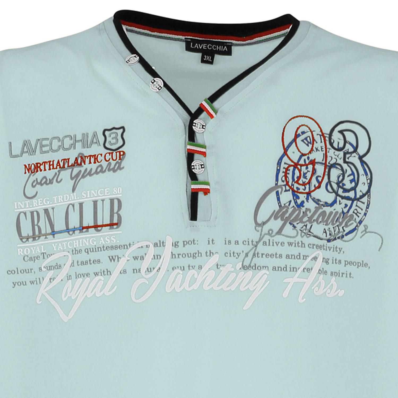 Detailbild zu Übergrößen Shirt von Lavecchia bis 8XL mintgrün für Herren mit Frontprint kurzarm