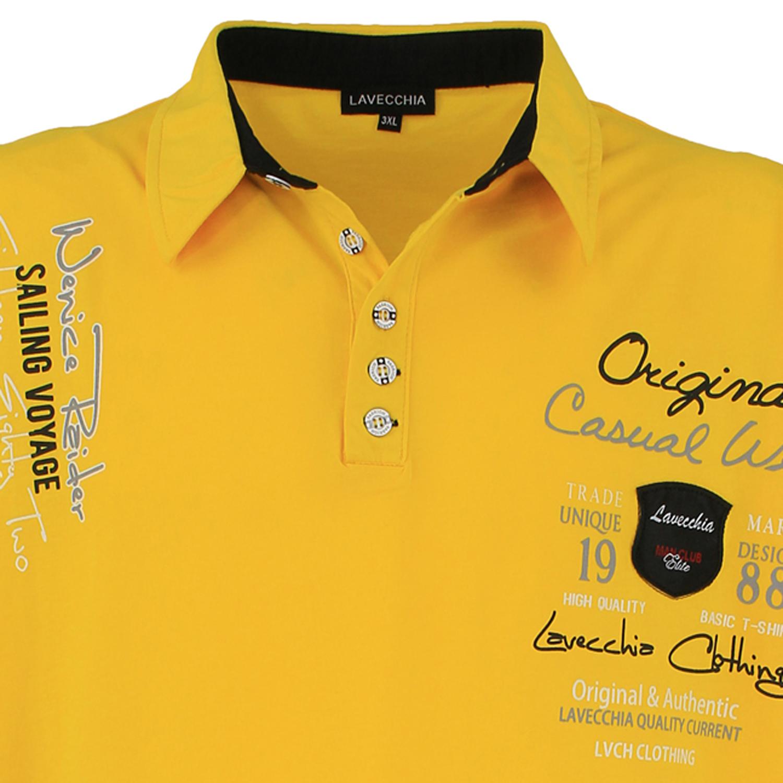 Detailbild zu Herren Poloshirt mit Frontprint von Lavecchia in Übergrößen bis 8XL gelb