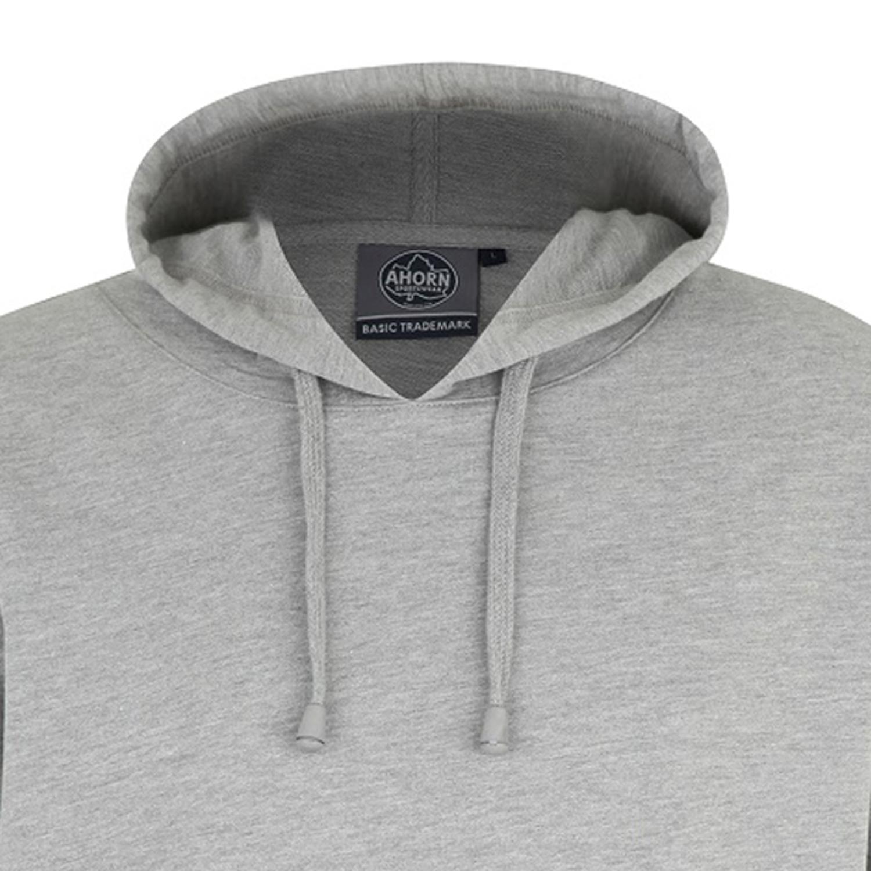 Detailbild zu Graumelierter Herren Kapuzenpullover von Ahorn Sportswear in großen Größen XXL-10XL
