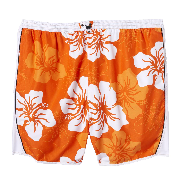 Detailbild zu Badebermuda von eleMar in orange-weiß für Herren Übergrößen 7XL bis 10XL geblümt