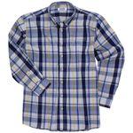 Blau-kariertes Langarmhemd von Big-Basics in großen Größen bis 8XL