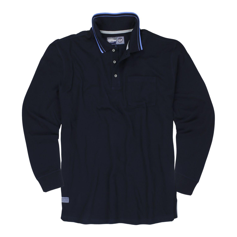 """Detailbild zu Herren langarm Polo von Ahorn Sportswear """"sky wolf"""" in dunkelblau Übergrößen bis 10XL"""
