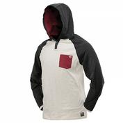 DYE COBA Hood Shirt Off Hoodie Kaputzenpullover, white-maroon  Bild 1
