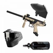 Tippmann Cronus Basic Tan-Black, 0,8l HP-System, VForce Sentry, JT Revolution, Paintball Sparset 001