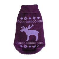 Wolters Strickpullover Elch Hunde Pullover brombeer/lavendel