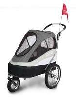 InnoPet® Sporty Trailer AT Pet Stroller Hundebuggy mit Luftreifen Fahhradanhänger Nylon schwarz/grau