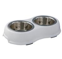 Napf-Set mit Kunststoffhalter weiß S-M - Hundenapf