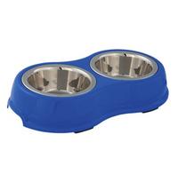 Napf-Set mit Kunststoffhalter blau S-M - Hundenapf
