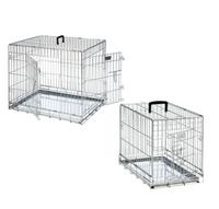 Hunde Transport-Drahtbox klappbar silber XS-XXL - Hundedrahtkäfig