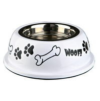 Hunde Edelstahlnapf mit Kunststoffhalter weiß - Hundenapf