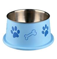 Hunde Edelstahlnapf mit Kunststoffmantel blau 0,9 l/ø 15 cm - Hundenapf