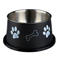 Hunde Edelstahlnapf mit Kunststoffmantel schwarz 0,9 l/ø 15 cm - Hundenapf