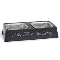 Melamin Doppelnapf schwarz/grau My favourite Dog