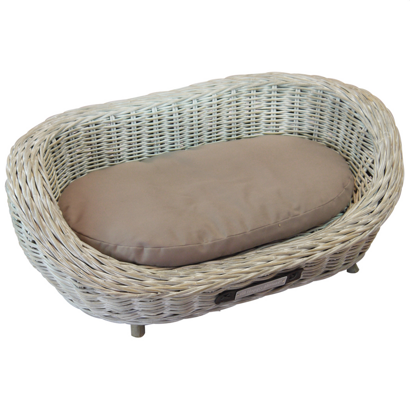 Happy House® Korb Rattan Sofa oval weiss