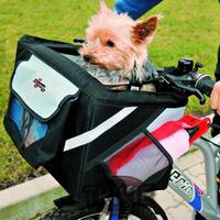Trixie 3in1 -Front-Box Fahrradtasche Hunde Fahrradkorb schwarz - grau