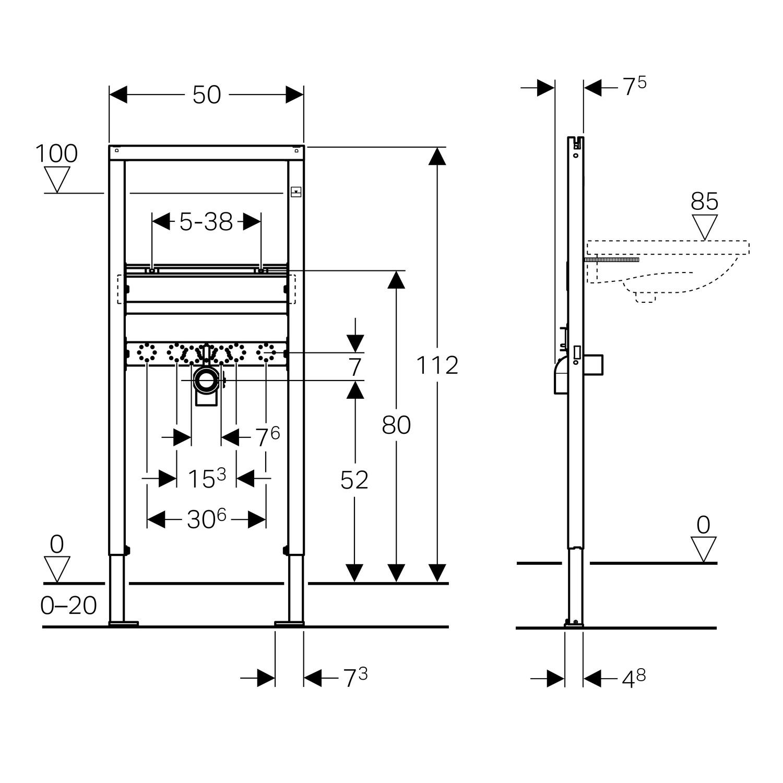 Details zu Geberit Duofix Basic Waschtisch-Element WC-Element  Urinal-Element Vorwandelement