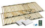 2x7-Zonen-Lattenrost starr 90x200 cm mit individueller Härtegradverstellung und 2 Matratzenunterlagen