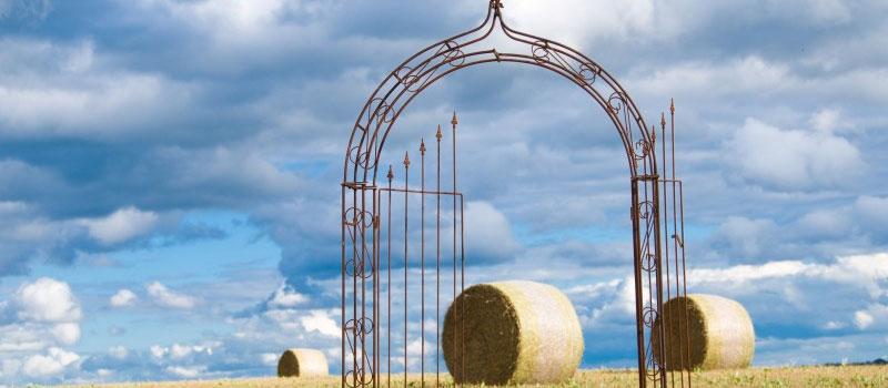 Rosenbogen mit Tor auf einer Wiese mit Strohballen