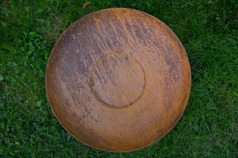 Pflanzsäule mit Schale Rost H124cm