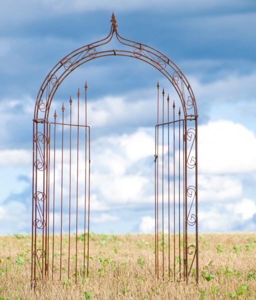 Rosenbogen B: 140cm Rost mit Türen / Tor mit Spitze