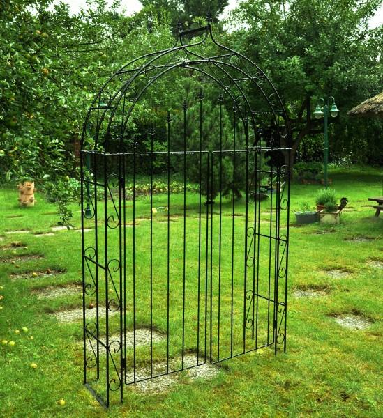 Rosenbogen B: 140cm Schwarz mit Türen / Tor mit Spitze
