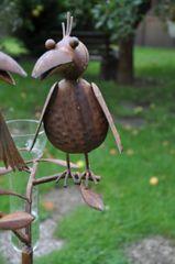 Regenmesser Vogelduo mit Hut braun