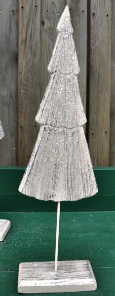 Holztanne Glimmer weiss, H: 60 cm