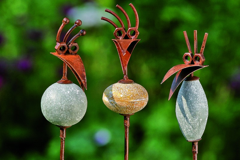 3er Set Gartenstecker Vogel mit Stein