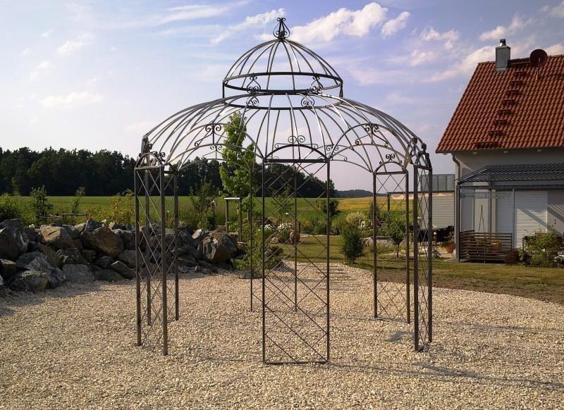 Gartenpavillon Metall Ø 290cm Romantik Verzinkt + Farbe