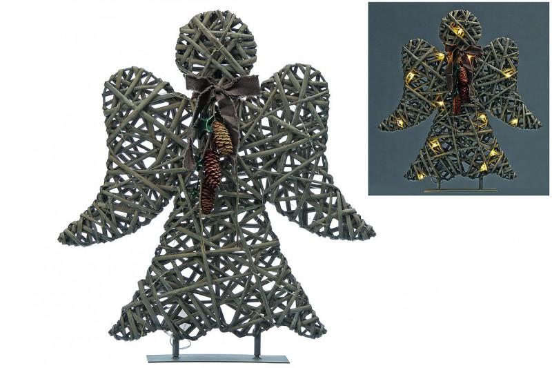 LED-Objekt Engel, stehend, grau