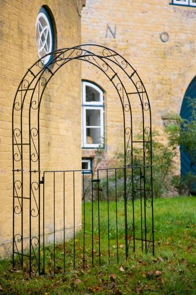 Rosenbogen B: 140cm Schwarz mit Türen / Tor RUND