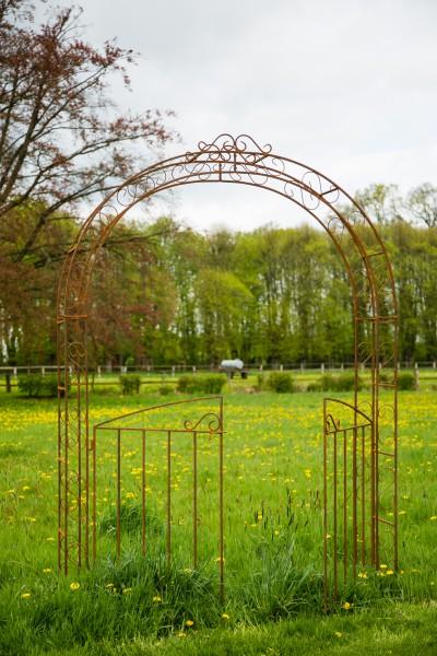 Rosenbogen B: 200cm Rost mit Türen / Tor Vierkanteisen