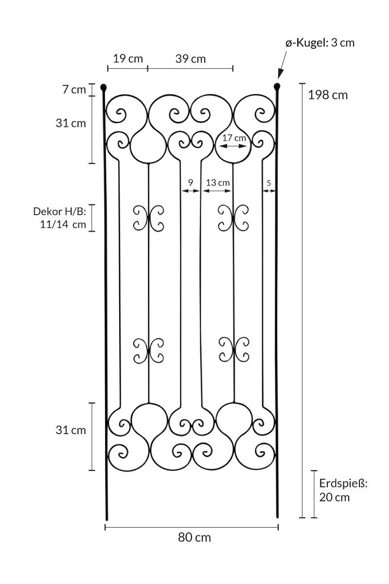 steckzaun h he 195cm rost breite 80cm rankhilfe rankger st rankgitter metall ebay. Black Bedroom Furniture Sets. Home Design Ideas