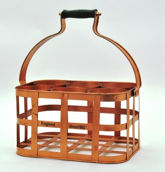 flaschenkorb l nge 32 5cm flaschentr ger metall farbe kupfer mit holzgriff ebay. Black Bedroom Furniture Sets. Home Design Ideas