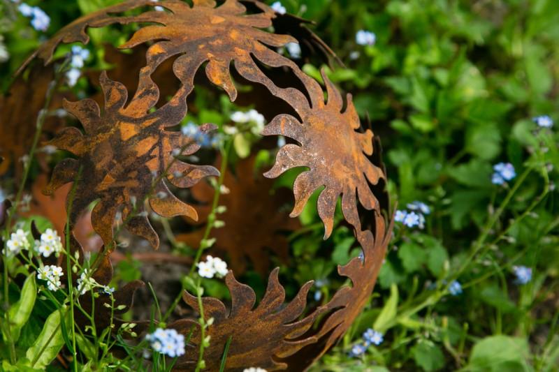 Dekokugel, Rost Ø 22cm Sonne
