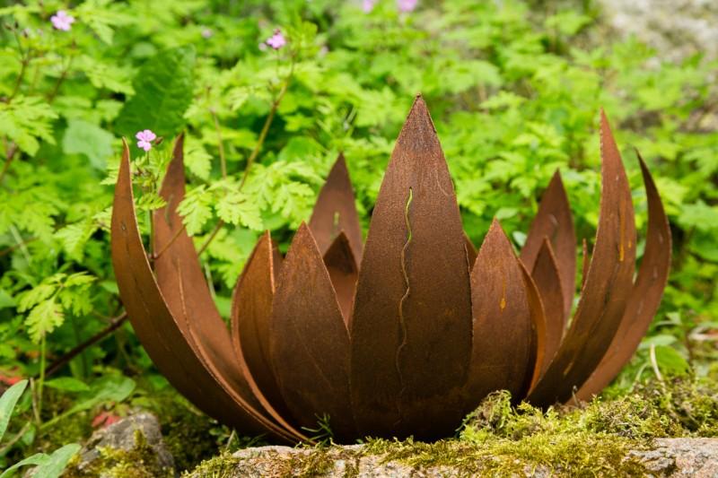 Deko - Blüte Lotus, Naturrost, groß