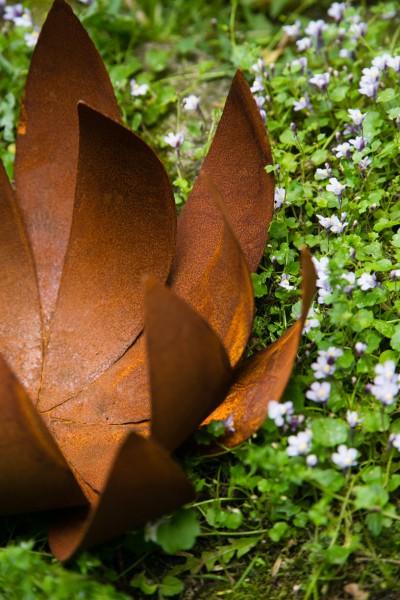 Deko - Blüte Lotus, Naturrost, klein