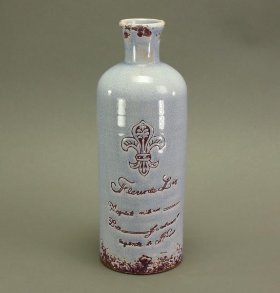 Flaschenvase mit Lilie, hellblau