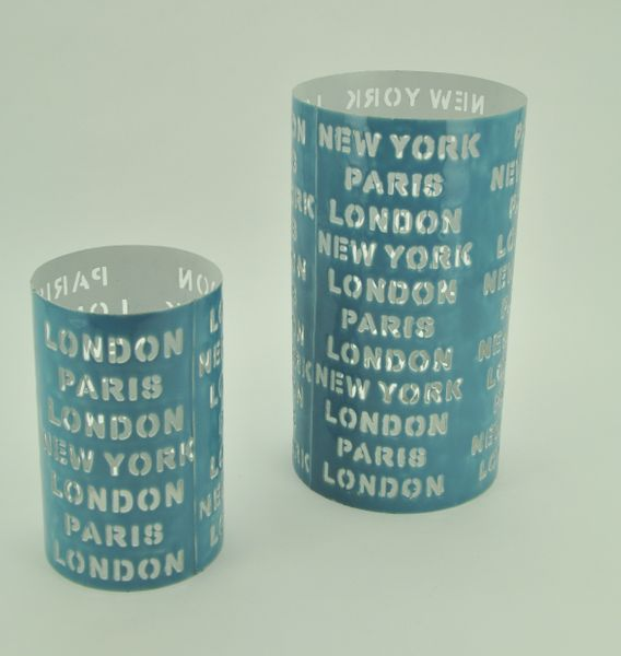 "Windlicht "" New York / London .... "" hell - blau, sortiert"