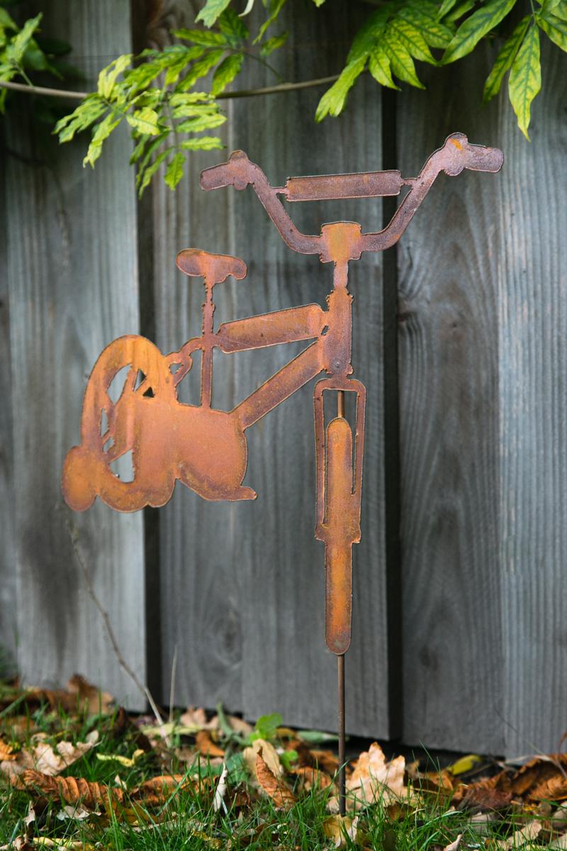 gartenstecker fahrrad edelrost. Black Bedroom Furniture Sets. Home Design Ideas