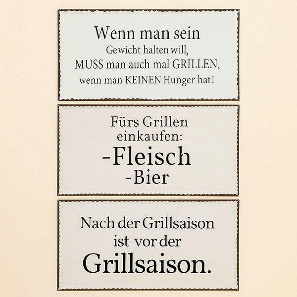 """Blechschild  /Metallschild """"Grillen"""" -sortiert-"""