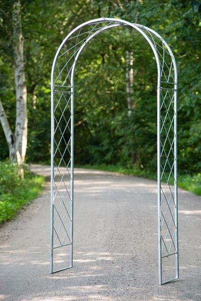 Zink Rosenbogen mit Gitterstäben, Höhe:205cm, Breite:100cm, aus verzinktem Metall
