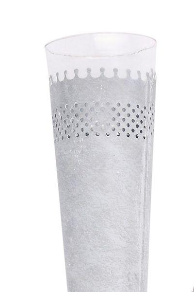 Kerzenhalter zum Stecken für den Garten, grau/weiß Shabbystil, Metall und Glas (Höhe: 100cm, Durchmesser: 12cm)