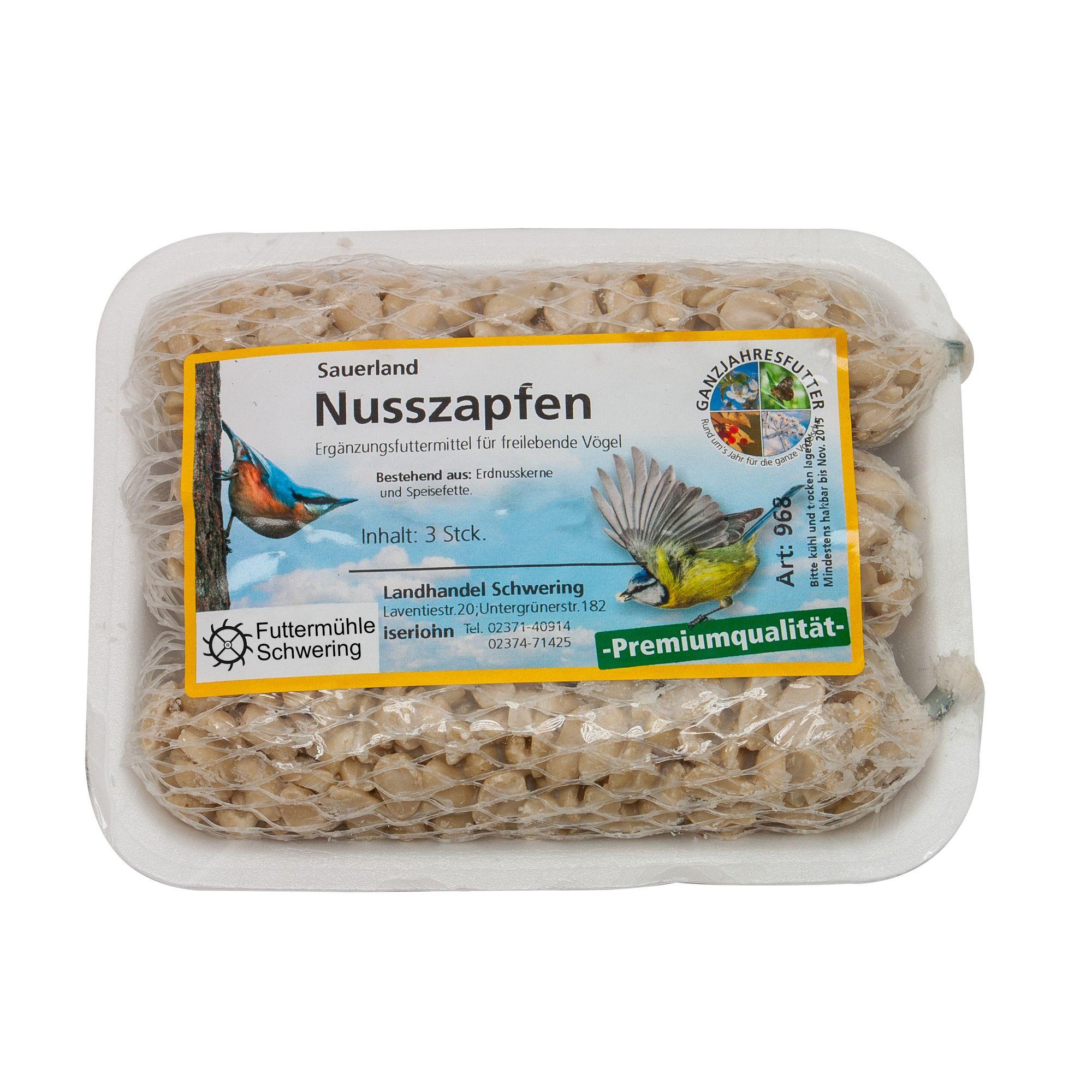 Wildvogel Futterset schalenfrei mit Müsli, Fettfutter und Nuss-Zapfen