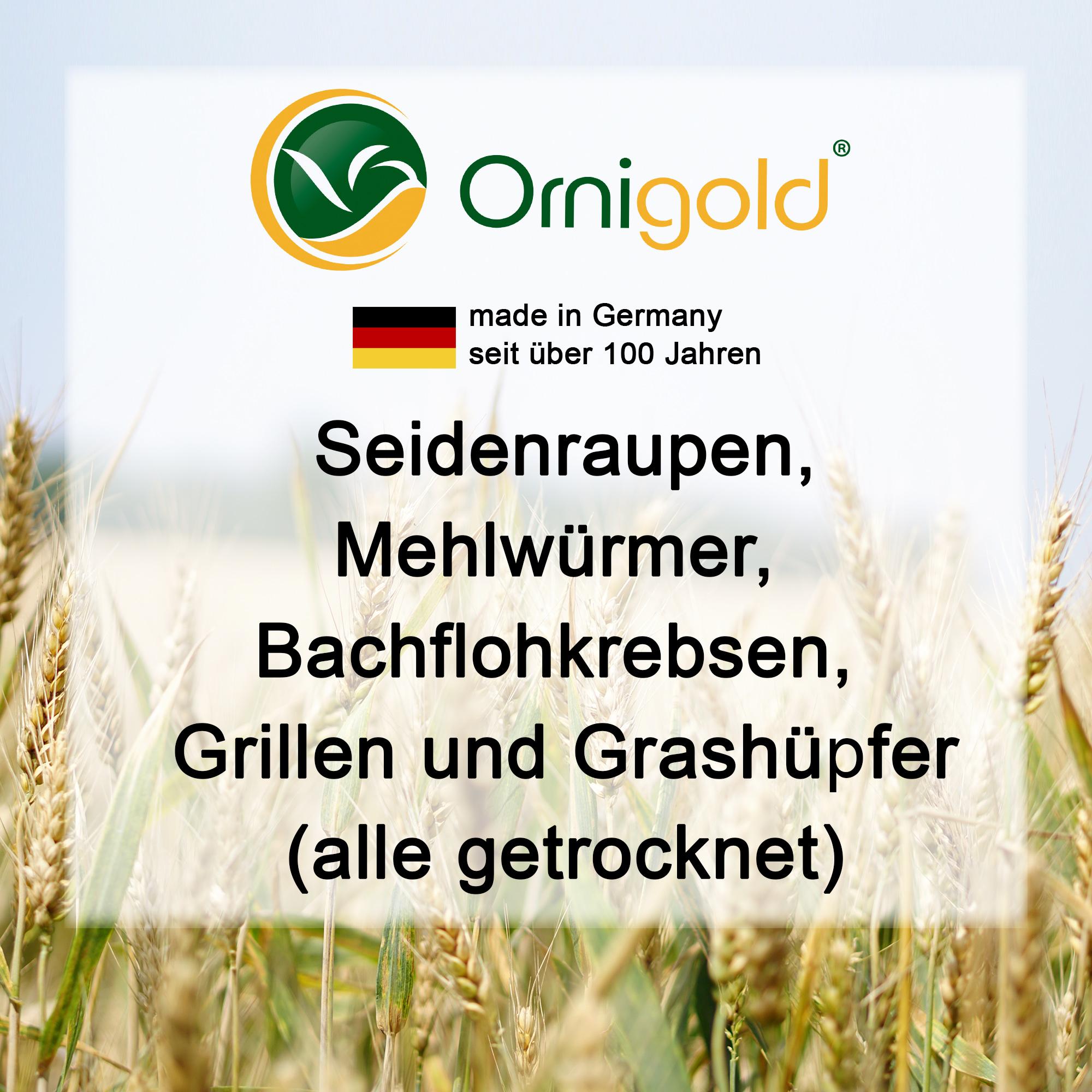 Premium Insekten Mix 500g getrocknet von Ornigold bestehend aus Seidenraupen, Mehlwürmer, Bachflohkrebse, Grillen, Grashüpfer Bild 3