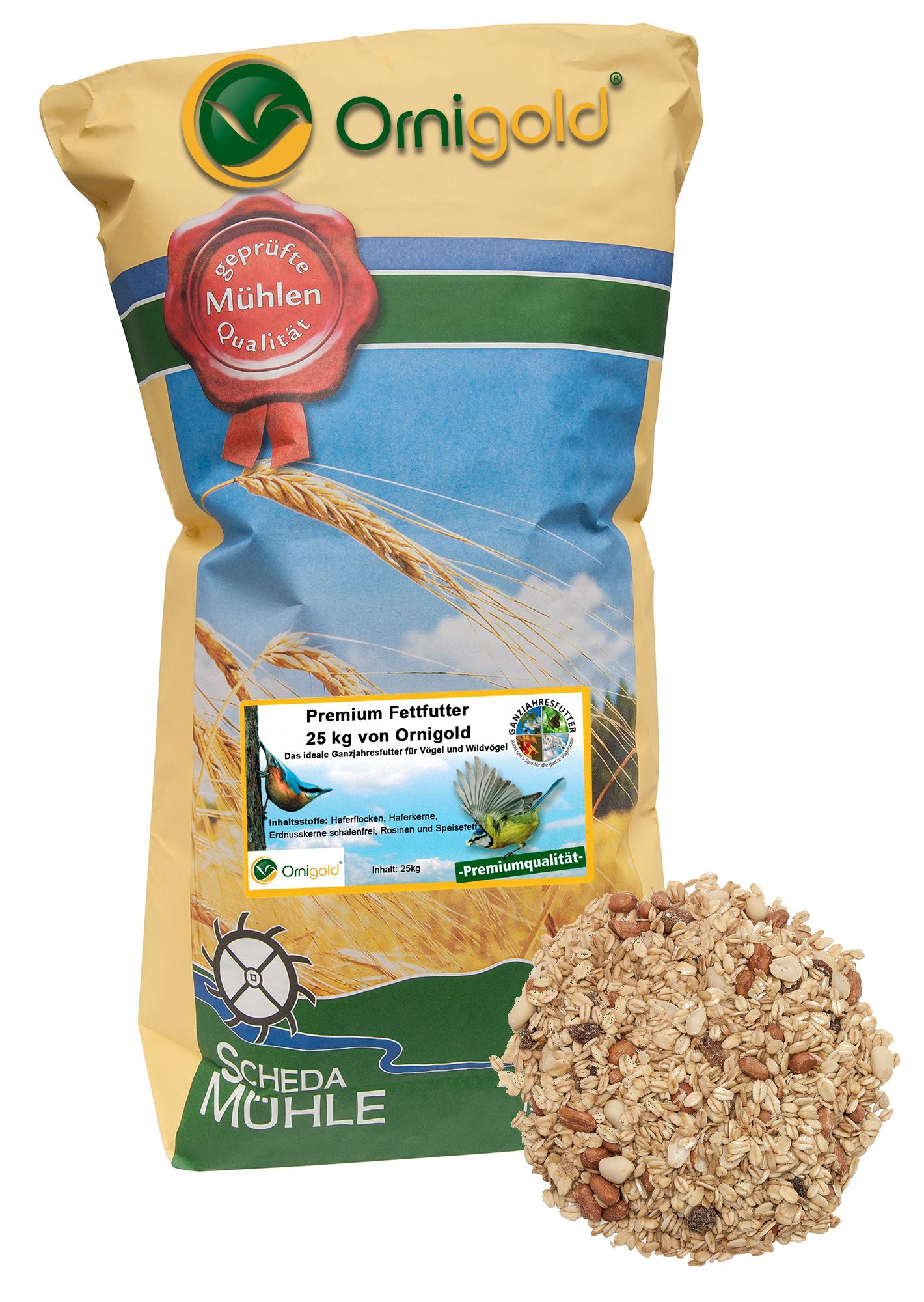 Premium Fettfutter 25 kg von Ornigold – Das ideale Ganzjahresfutter für Vögel und Wildvögel