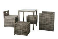 Rattan Balkongruppe Set - Cubus Sessel + Hocker + Esstisch 5.tlg. - Farbe: grau braun meliert