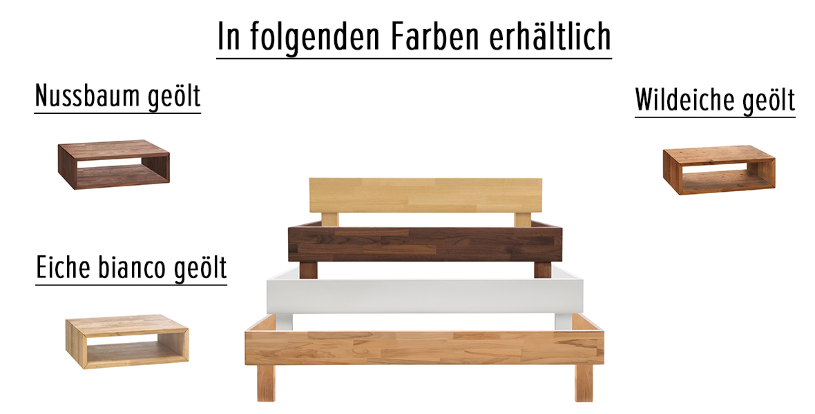 Massivholzbett Asti Farben