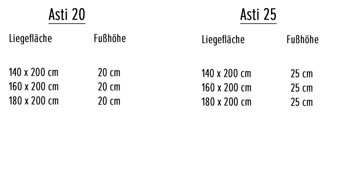 Massivholzbett Asti Variantenauswahl