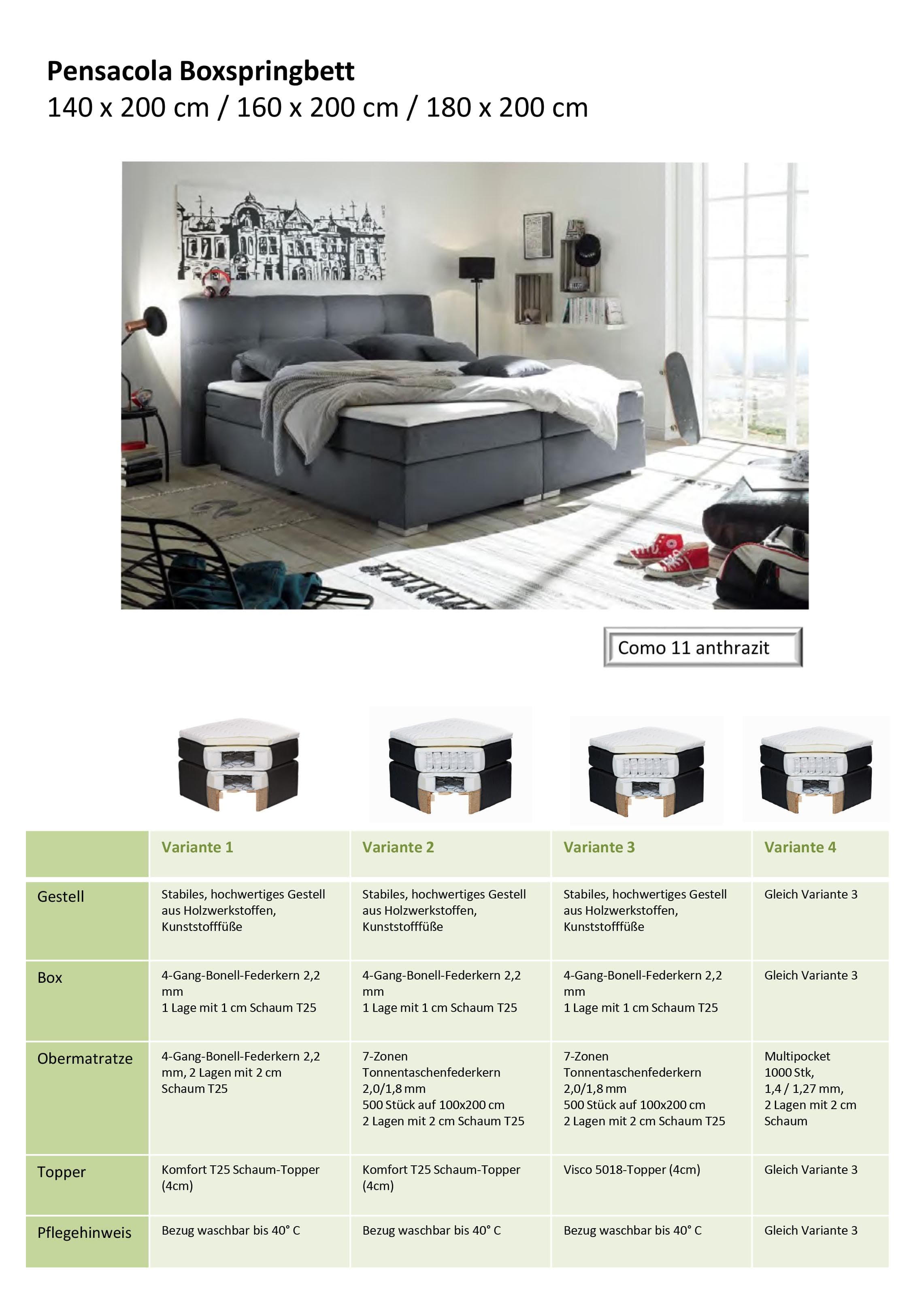 Das Pensacola Boxspringbett: in 140x200, 160x200 und 180x200 cm online bestellen.